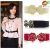 fashion women's girls graceful peony buckle style elastic lovely belt waistband