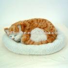 plastic cat toy pet toy breathing sleeping animals sleeping cat toy snoring pet imitation sleeping animal