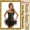 black sexy pattern woman corset with chiffon skirt