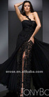 ET-140 Lace Beaded One-Shoulder Black Lace Sexy Prom Dresses