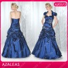 AZ0572 Free Jacket Sweetheat Ruffle A-Line Taffeta mother of the bride dress navy blue