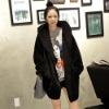 FY0405 Ladies hooded black plush relaxed casual hair Long Fleece Jacket
