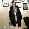 FY0405 Ladies hooded black plush relaxed casual hair Long Fleece Jacket