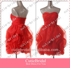 Custom Made Flowers Detachable Belt Organza Short Red Cocktail Dress Mini Party Gown