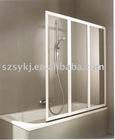 Tempered glass tri-fold bath screen