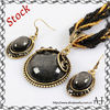Pearl Jewelry Set Vintage Golden Round Black Acrylic CZ String Necklace Earrings Set AS1632