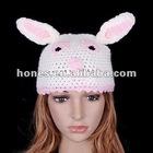 Cartoon Rabbit Bunny Beanie Hat Handmade Wool Knit Crochet Winter Cute Animal Hats