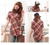 New short-sleeved plaid cotton leisure blouses Preferential price