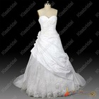 Real Sample New Arrival 2013 New Style Ball Gown Taffeta Flowers Appliques White Bridal Wedding Dress