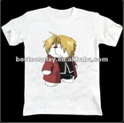 Cartoon Printing white100% cotton round collar The alchemist anime t shirt