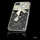 luxury plastic CZ diamond transparent cell phone shell protection with CZ diamond
