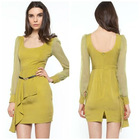 Women Ruffle Long Sleeves Dress, Urban Short Dress