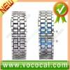Lava Style Iron Samurai Metal Faceless Blue LED Digital Watch