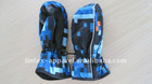 2012 newest blue printed kids waterproof snow glove