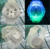 New Arrival Jelly Transparent Clear Whole Noctilucous Plastic+TPU Wristband Quartz Watches