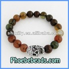 Pave Crystal Rhinestone Skull Charm Bracelets Wholesale Fashion Mix Color Agate Beaded Stretch Jewelry For Men or Women PHB-019