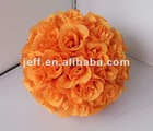 orange color silk kissing rose flower ball wedding supplies