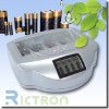 Non-rechargeable or rechargeable alkaline battery charger supported NI-MH,NI-CD,ALKALINE,AAA,AA,9V,C,D,N 09