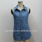 ladies sleeveless disign wholesale denim jackets