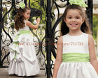 Satin gown with a bustled back contrasting bows children dress