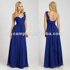 BD-089 Beautiful one shoulder silky chiffon long bridesmaid dresses royal blue