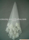 2012 classic style Factory Real made picture two layer lace trim appliqued wedding veil Bridal veil