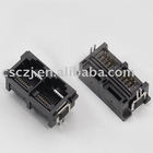 Top entry 1*2 port RJ45 Modular PCB Jack