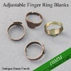 Shiny Silver Blank Finger Ring Blanks Glue-on and Adjustable