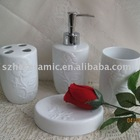 Ceramic bathroom set embossed design