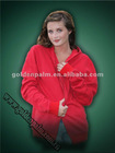 Ladies soft fleece hooded kangaroo sweat shirt