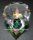 crystal w/goddess & god the son w/green velvet