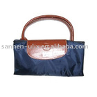 Blue Fabric Handbag with Zipper and Button, Measures 30 x 15 x 10-1/4 Inches