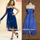2012 Sweetheart Empire Waist Front Short Long Back Chiffon Royal Blue Bridesmaid Dresses