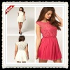2013 Summer Newest Style Skater Dress With Lace And Mesh