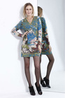 2012 high quality western printing V collarlong pattern cashmere sweater