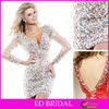 Sheath Long Sleeve Heavy Crystal Beaded Short Mini Cocktail Dress Plunging V Neck Low Back