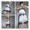Spaghetti strap white feather cocktail dress hy344