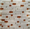 Ivory White Marble Mixed Glass Mosaic Tile