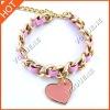 heart metal alloy woven bracelet