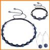 Men's cheap shamballa necklace crystal set