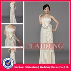 EVD085 real picture satin bateau side ruffle and bow evening gown