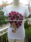 newest t-shirt design for lady prints with beads Ms Cat