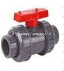 pvc double true union valve with red handle
