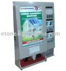 Free-standing mobile phone charging station with 10pcs of Rolled advertising light box and shoe polisher