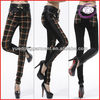 Lady's Fit Leather Grid Trousers