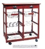 Pine Tile Top Wood double Kitchen Trolley