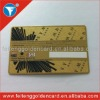 high quality brass business card with signature panel/custom design signature panel metal cards