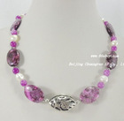 """18"""" 15*25mm stone & jade FW pearls necklace"""