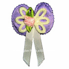 Fabric flower appliques with brooches