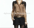 2012 new arrival elegant fashion tops in gray color ladies shirt HK-1208
